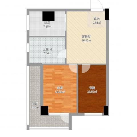 宝地-银河广场105m22室2厅1卫1厨80.00㎡户型图