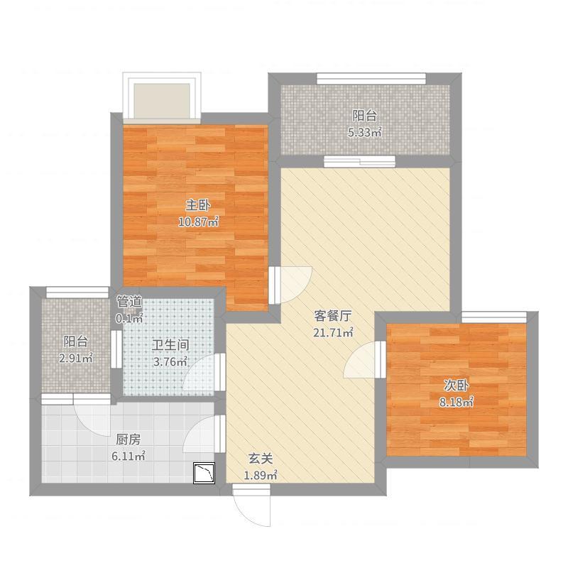 中船・汉光华府94.00㎡6#A2户型2室2厅1卫1厨-副本户型图