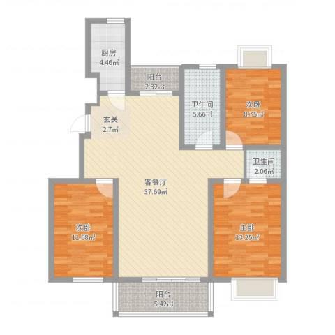 华林・灌南春天3室2厅2卫1厨114.00㎡户型图
