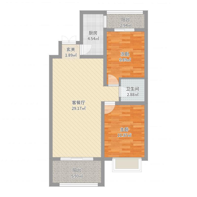 润德天悦城90.61㎡B-12#标准层4B户型2室2厅1卫1厨-副本户型图