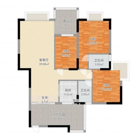 江南丽苑二期3室2厅2卫1厨142.00㎡户型图