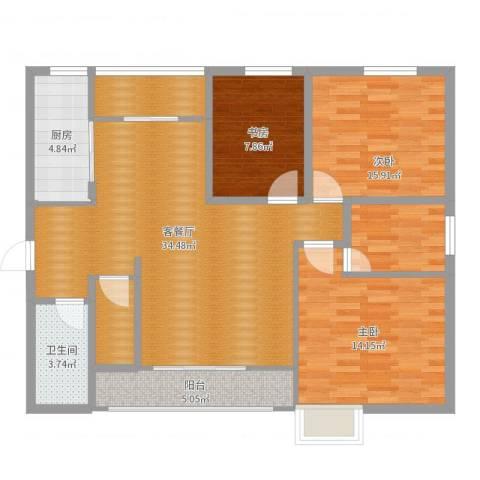 东仪福利区3室2厅1卫1厨110.00㎡户型图