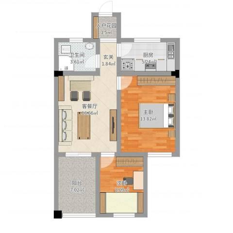 SOLO自由城2室2厅1卫1厨70.00㎡户型图
