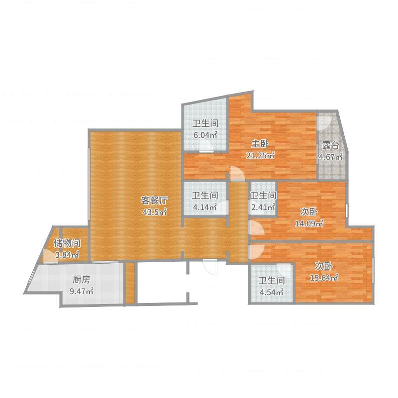 金地棕榈岛175m²户型图