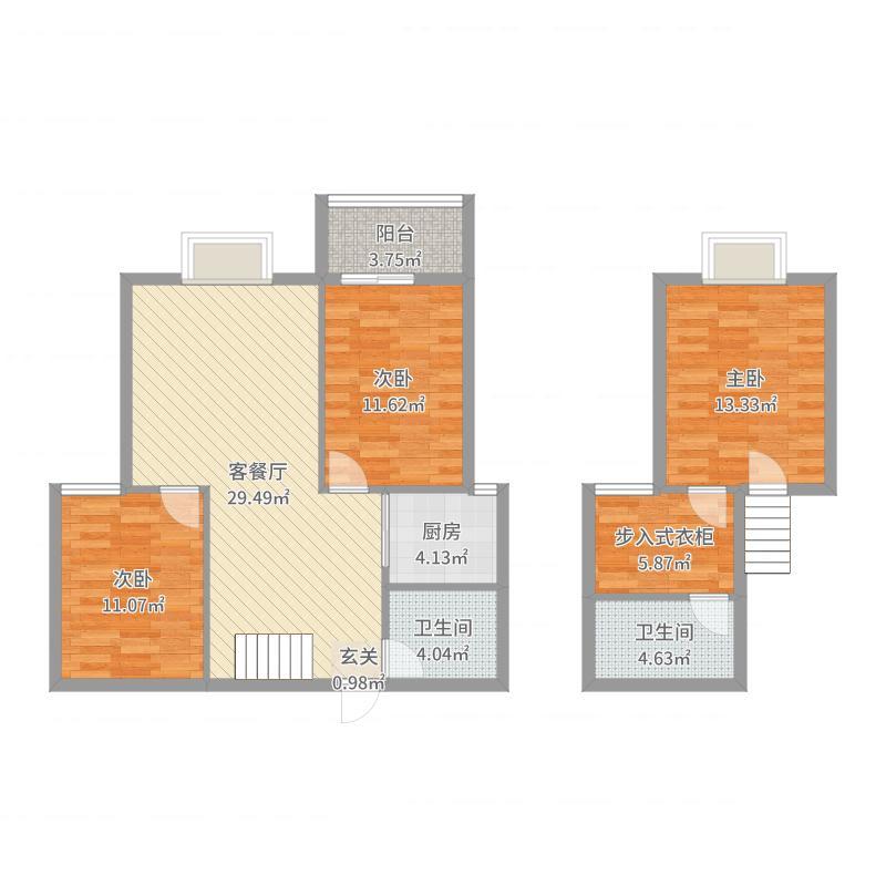 广厦上城二期125.00㎡B2户型3室3厅2卫1厨-副本户型图