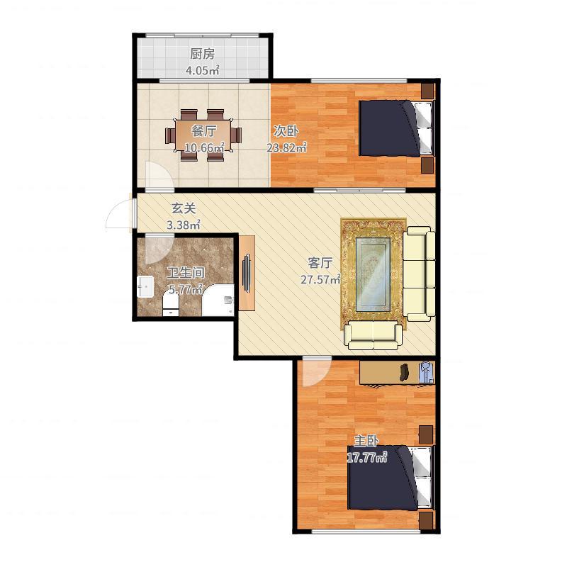 前程街2室2厅1卫户型图