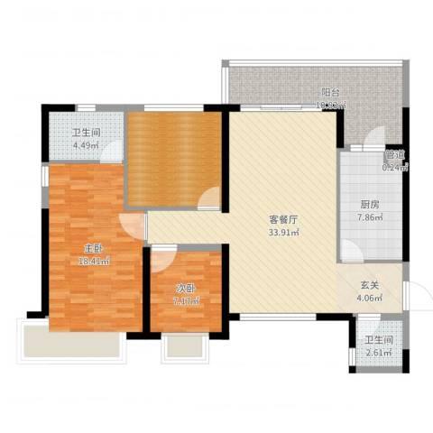 防城港恒大御景湾2室2厅2卫1厨121.00㎡户型图