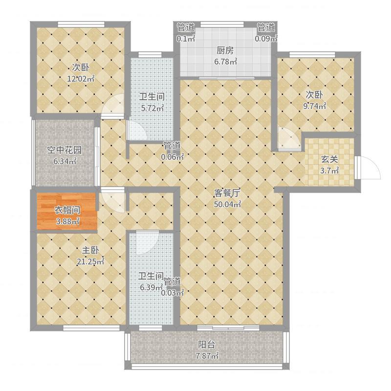 尚玲珑180.00㎡尚玲珑户型图二期高层69、70#180平米户型3室2厅2卫1厨户型3室2厅2卫1户型图