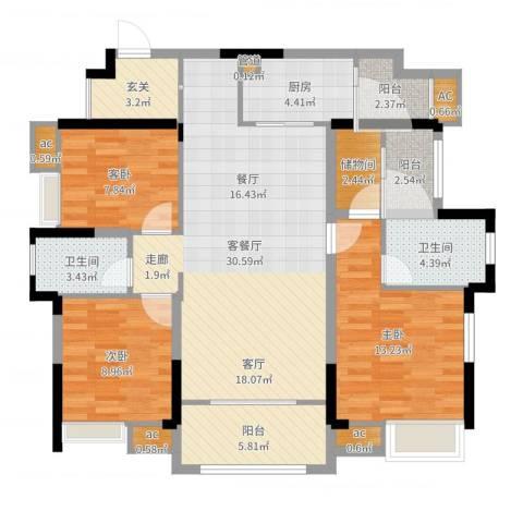 融创凡尔赛领馆3室2厅2卫1厨115.00㎡户型图
