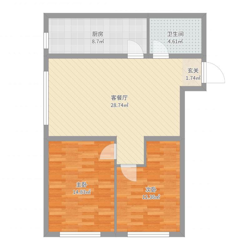 凡尔赛诗城87.00㎡9#10#-B户型2室2厅1卫1厨-副本户型图