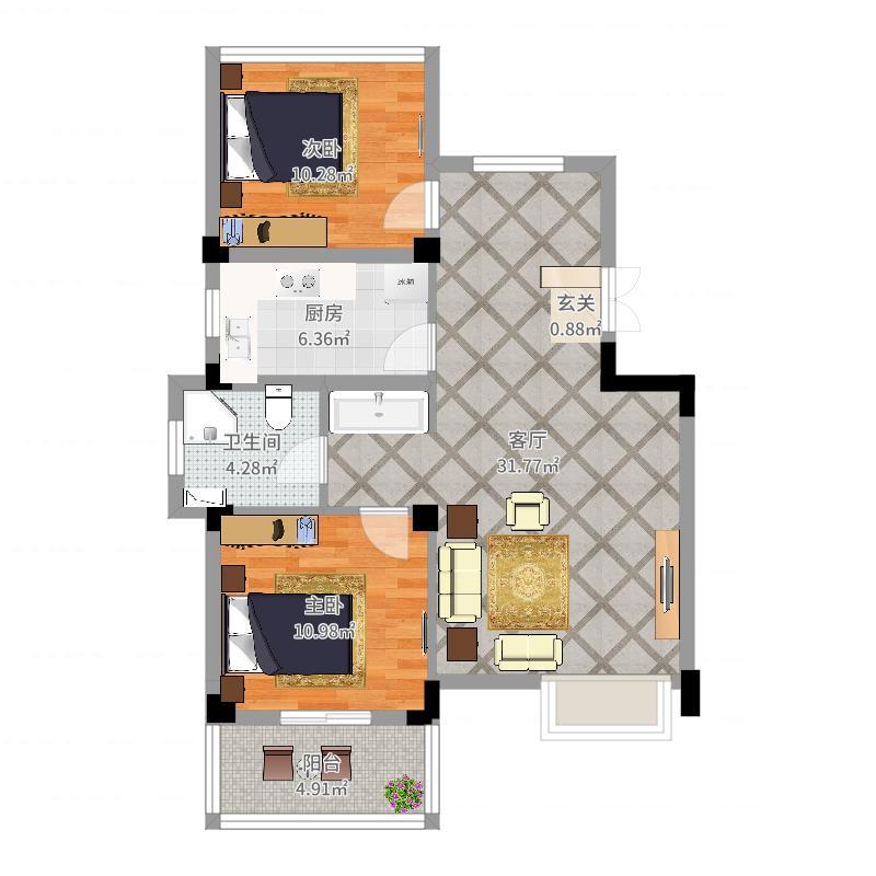 翠堤湾一房两厅户型图