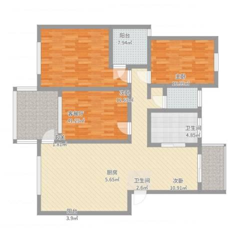 圣地亚哥3室2厅2卫1厨133.00㎡户型图