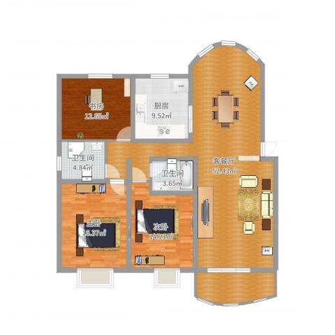 中虹汇之苑3室2厅2卫1厨150.00㎡户型图