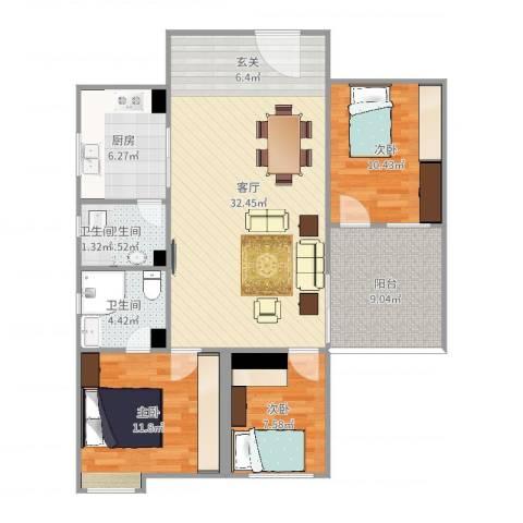 虎门新兴大厦3室1厅2卫1厨106.00㎡户型图