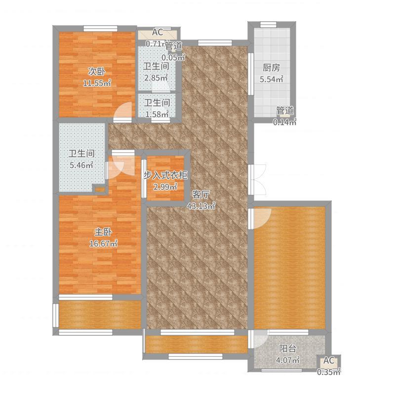 (石)紫林湾三室两厅户型图