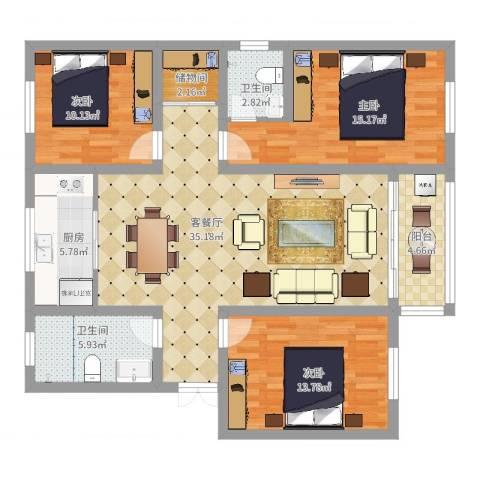 香山花园3室2厅2卫1厨120.00㎡户型图