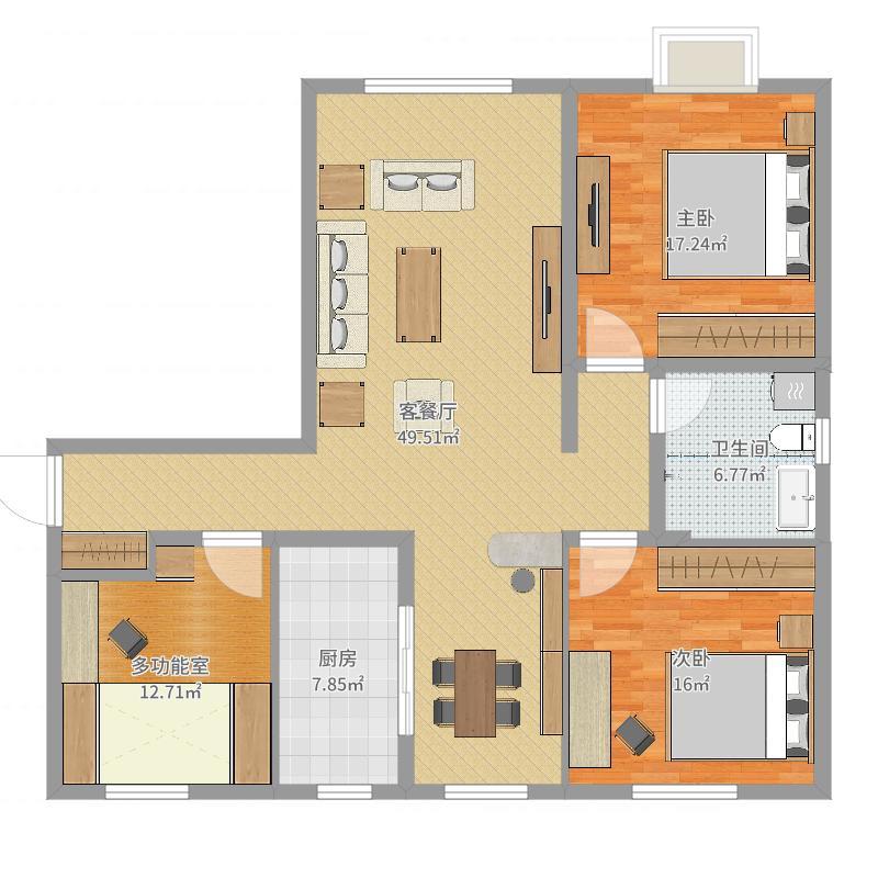 天津-河东-远洋香奈105㎡两室两厅-CQF001户型图