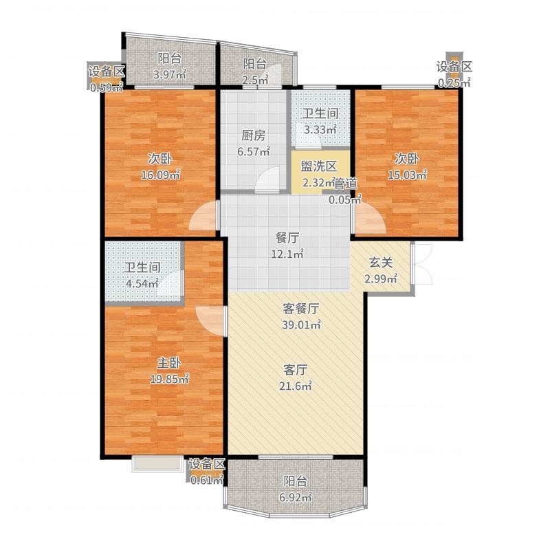 嘉怡国际丽都城128.00㎡三室两厅两卫户型-副本户型图