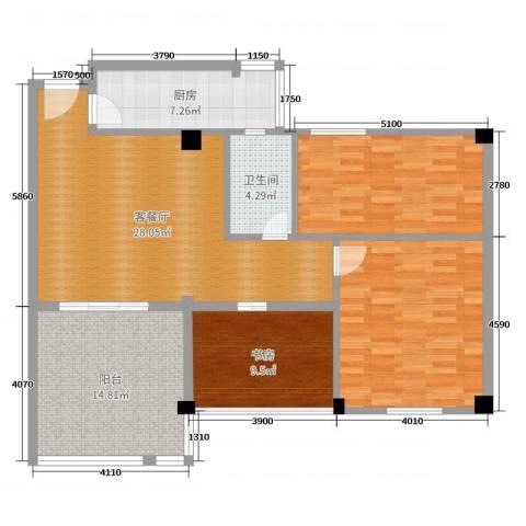万佳花园1室2厅1卫1厨117.00㎡户型图