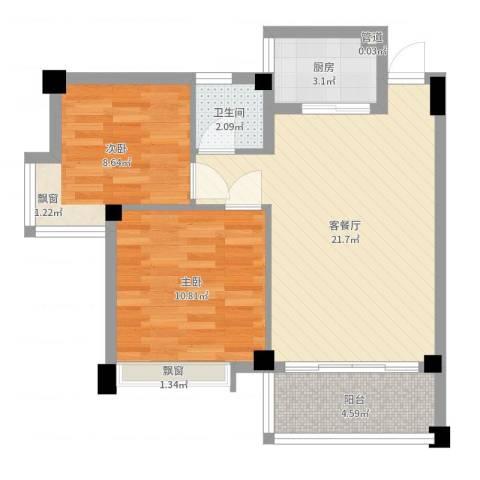 西堤国际花园2室2厅1卫1厨64.00㎡户型图
