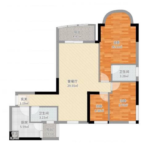 逸景翠园御景轩3室2厅2卫1厨97.00㎡户型图