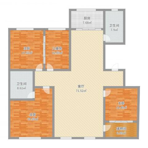 天鹅堡4室1厅2卫1厨215.00㎡户型图