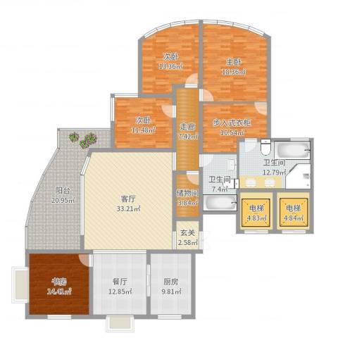 君悦花园4室2厅2卫1厨236.00㎡户型图