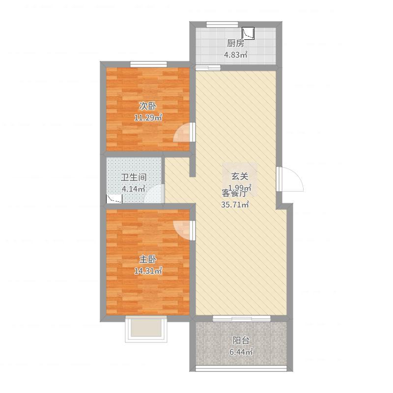 宣府第一城90.91㎡C户型2室2厅1卫1厨-副本户型图