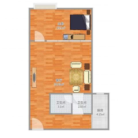 利和国际公寓1室1厅2卫1厨76.00㎡户型图