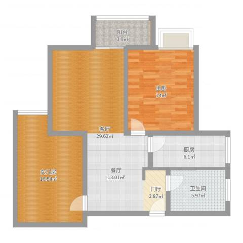 宏业鑫城1室1厅1卫1厨95.00㎡户型图