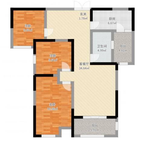 正通桂花苑3室2厅1卫1厨115.00㎡户型图