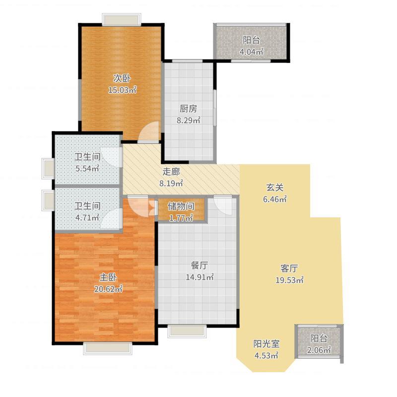 合生城邦F户型3室2卫1厨-副本户型图