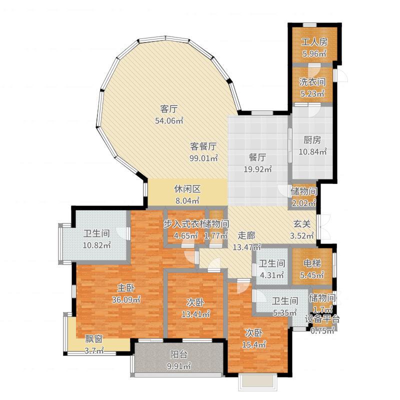 盛大金磐公寓263.00㎡房型: 四房; 面积段: 263 -310 平方米; 户型户型图