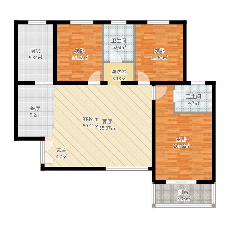 汇中广场133.24㎡3号楼C户型 三室二厅二卫 133.24㎡户型3室2厅2卫-副本户型图