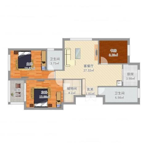 城市港湾3室2厅2卫1厨106.00㎡户型图