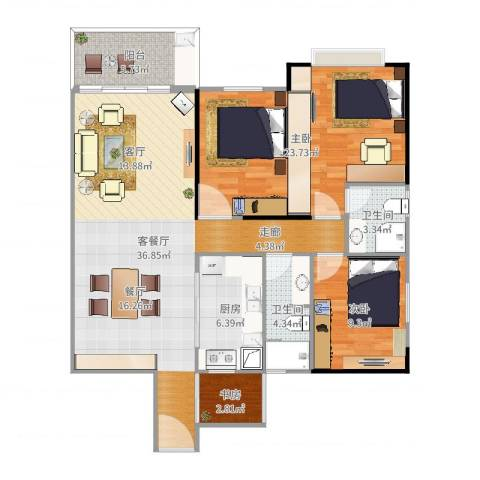 金桂园3室2厅2卫1厨116.00㎡户型图