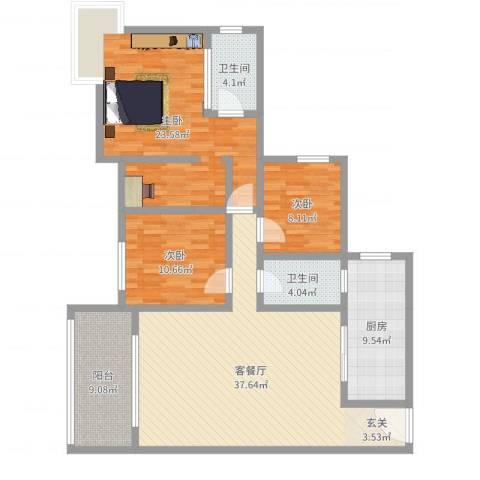 天邻风景3室2厅2卫1厨133.00㎡户型图
