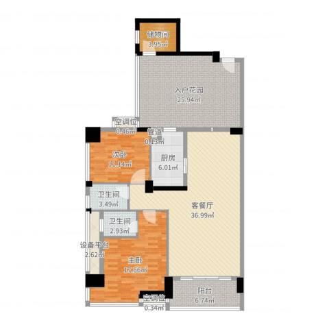 富怡名居2室2厅2卫1厨148.00㎡户型图