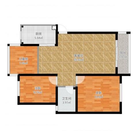 湖畔佳苑3室2厅1卫1厨89.00㎡户型图