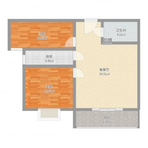 隆安东方明珠2室2厅1卫1厨85.00㎡户型图