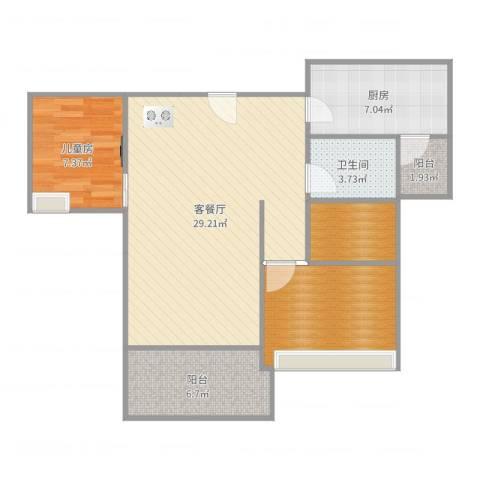 中信美景康城1室2厅1卫1厨87.00㎡户型图