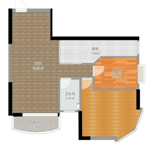 宝盛园1室1厅1卫1厨72.00㎡户型图
