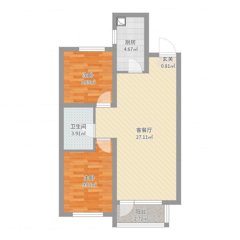 龙湖唐宁ONE83.00㎡户型2室2厅1卫1厨户型图
