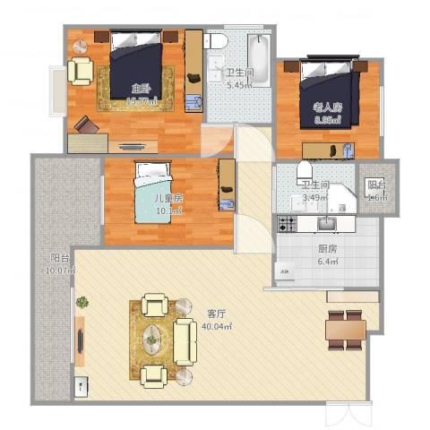南凤天城3室1厅2卫1厨127.00㎡户型图