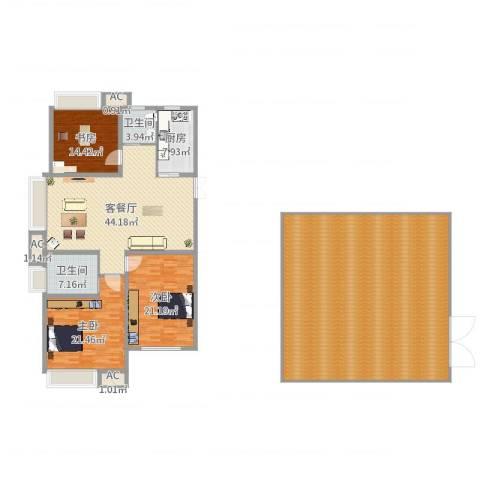 绿地海域香廷3室2厅2卫1厨276.00㎡户型图