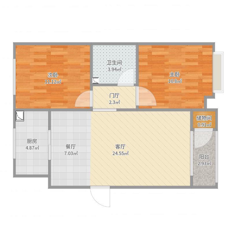 上林风景15#2单元701室户型图
