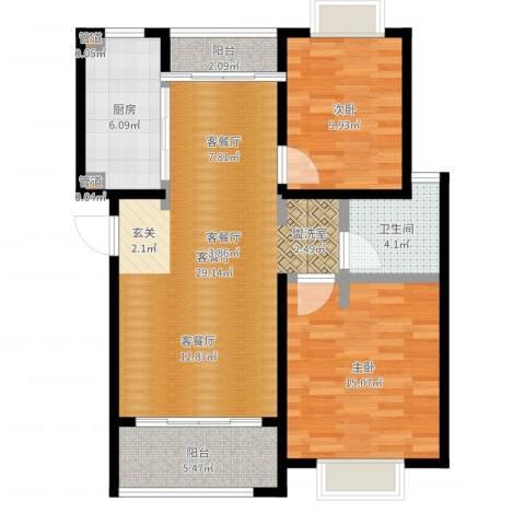 仁和都市花园2室2厅1卫1厨90.00㎡户型图