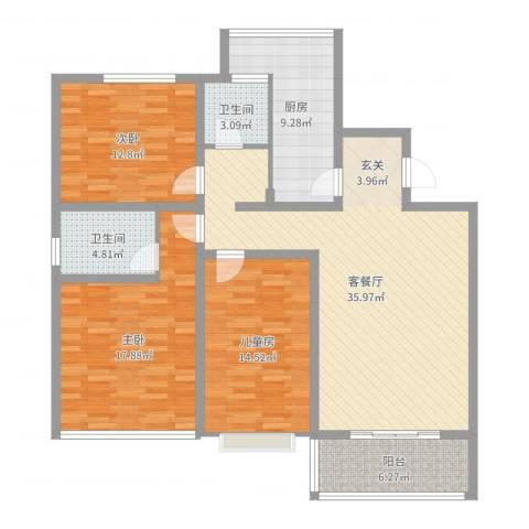 如意里3室2厅2卫1厨131.00㎡户型图