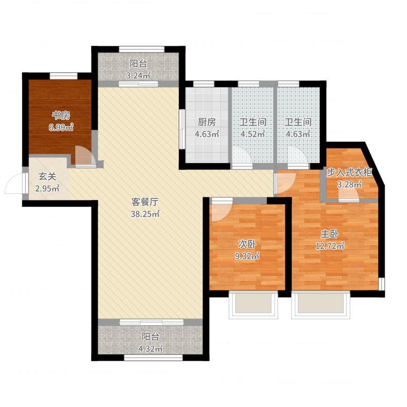 保利花园131.00㎡D区7#E户型3室3厅2卫1厨-副本户型图