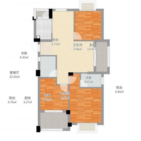 龙恒凤凰城3室2厅2卫1厨106.00㎡户型图